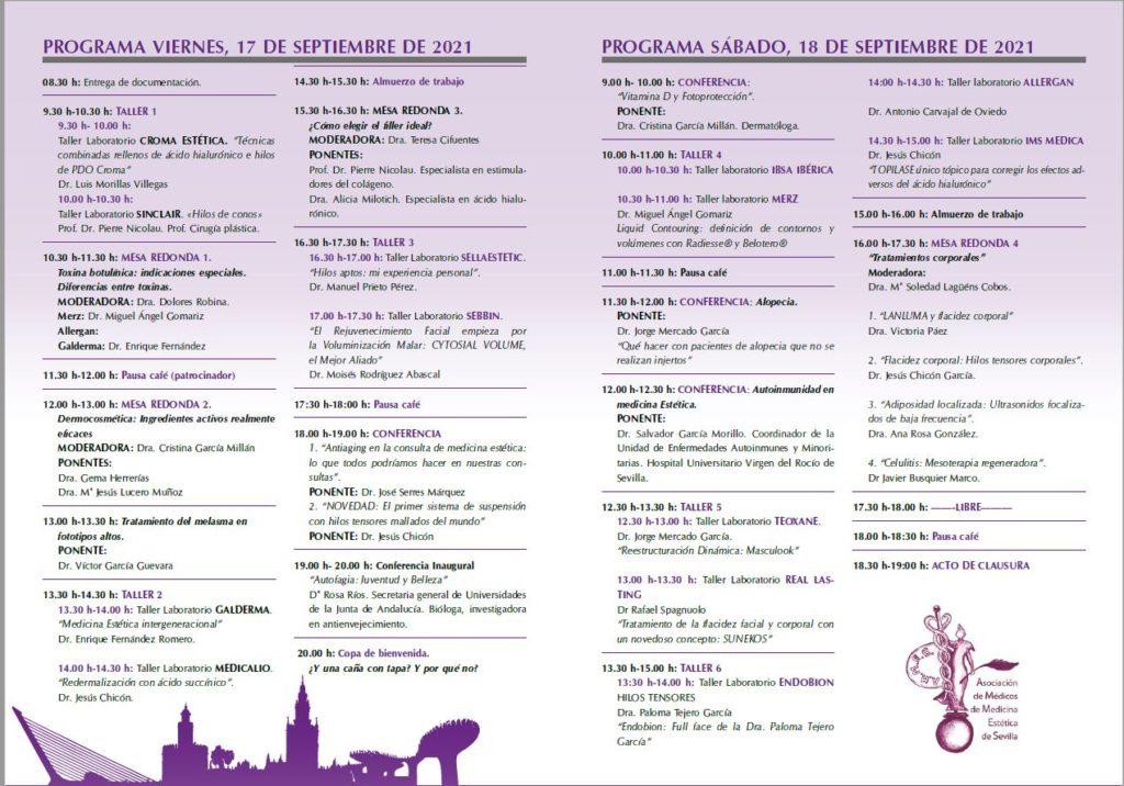 Sellaesthetic - Programa 3as Jornadas Hispalenses de Medicina Estética - 17 y 18 de septiembre 2021